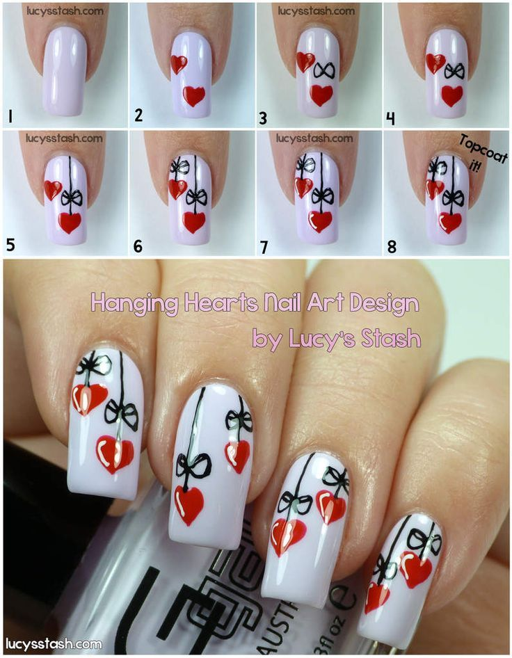 Hanging Hearts Valentine S Day Manicure With Tutorial