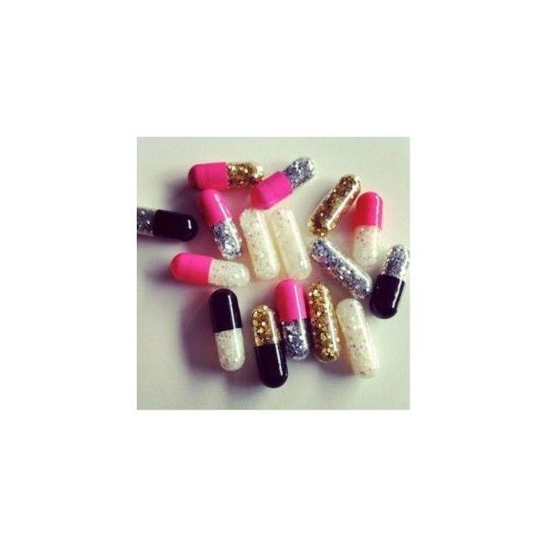 Glitter Pills ($7) ❤ liked on Polyvore featuring pics, pills and filler