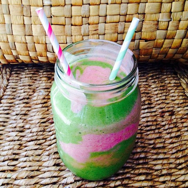 """Forgot to post this a few weeks back This was my usual green smoothie (recipe previous posts) and strawberry,raspberry and banana swirl smoothie. """