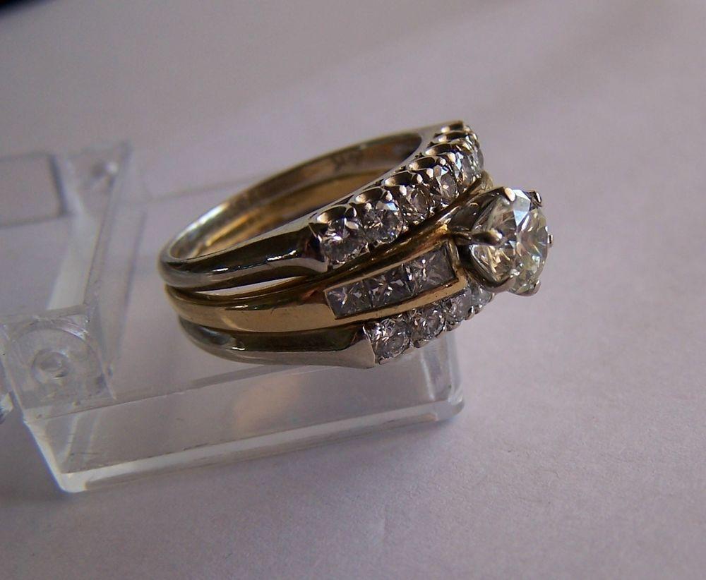 Estate Wedding Ring Set 18k Diamond Band W 2 Side 14k Guard
