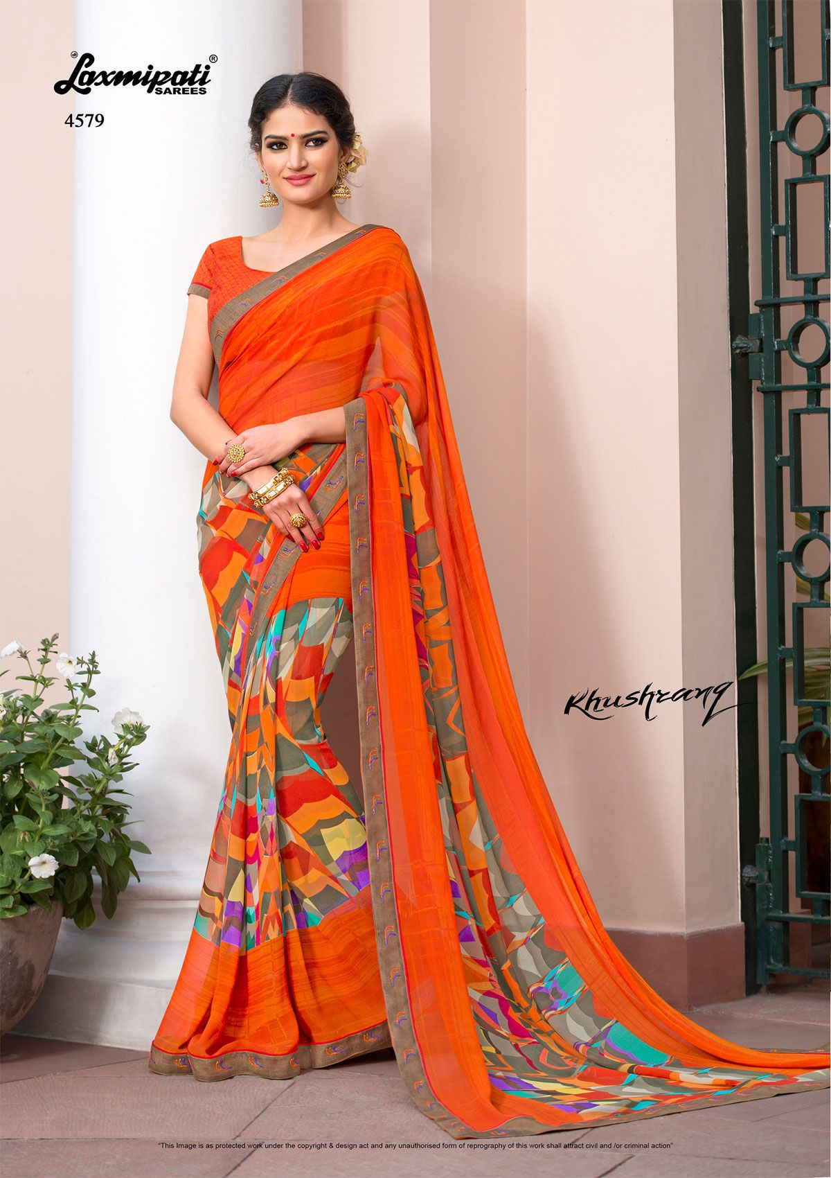 8146ae157a Browse this amiable multi colored designer #georgette #digital  #printedsaree with Bhagalpuri fancy lace border along with orange brocade  blouse for your ...