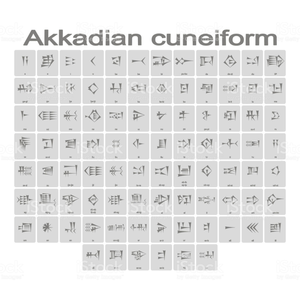 Set Of Monochrome Icons With Akkadian Cuneiform Alphabet For Your In 2020 Stock Illustration Monochrome Free Vector Art