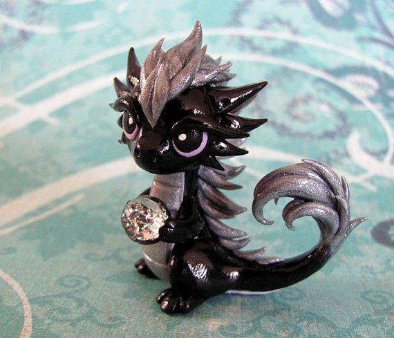 Black and Silver Dragon by DragonsAndBeasties on Etsy