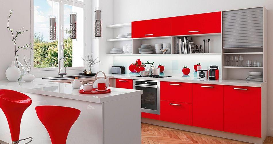 Cuisine rouge  Découvrez comment adopter cette couleur tendance - Photo Cuisine Rouge Et Grise