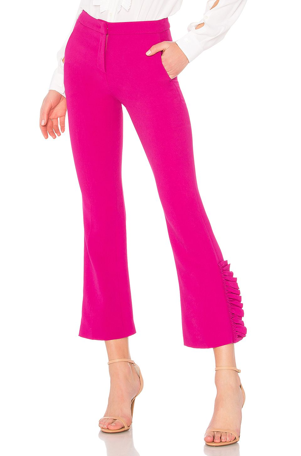 ruffle detail cropped trousers - Pink & Purple N°21 aGm6HBoF