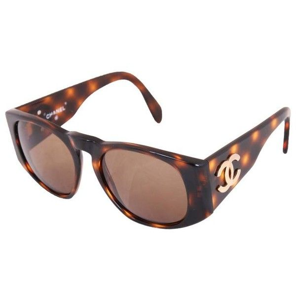cdd65dedcc Preowned Chanel Tortoise Shell Sunglasses W cc Logo On Arms ( 675) ❤ liked