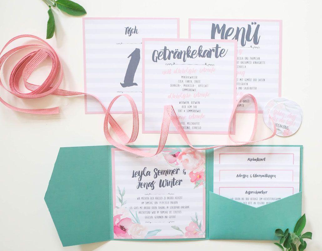 Pfingstrosen, Anemone, Blumen, Juhu Papeterie, Karlsruhe, Einladungskarte,  Hochzeit, Hochzeitsset