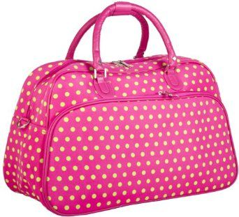 Amazon.com: World Traveler Pink and Green Polka Dots 20-inch Carry On Fashion Travel Duffle Bag: Clothing