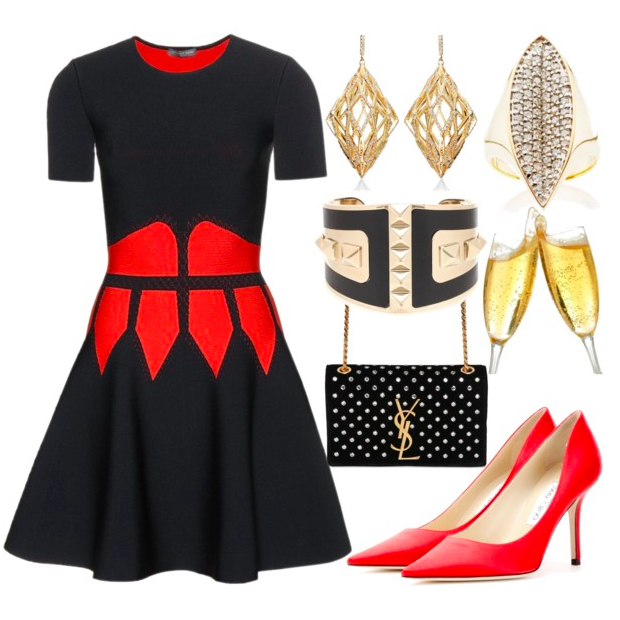 Office Christmas Party Outfit Ideas Part - 20: Alexander McQueen Red And Black Cocktail Dress With Red Pumps As A Christmas  And New Years Eve Party Outfit Idea.