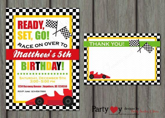 Race Car Birthday Invitation Racing Birthday Invitation Go Kart