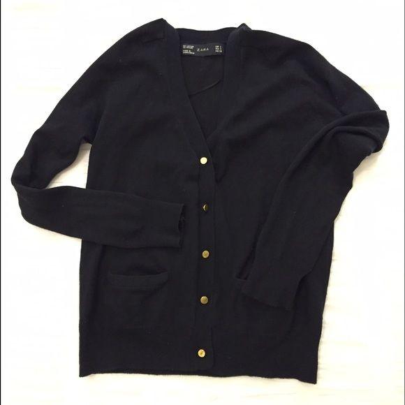 Zara Black Knit Cardigan with Matte Gold Buttons Super cute v-neck ...