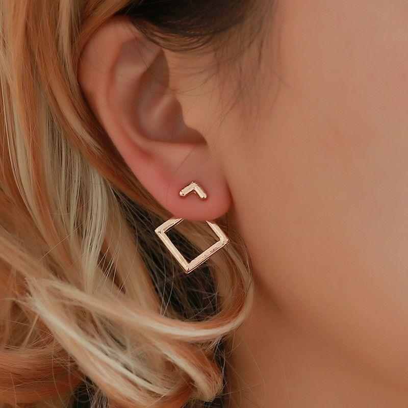 Pair Geometric Earrings Hollow Geometric Ear Hanging Triangle Square Earrings