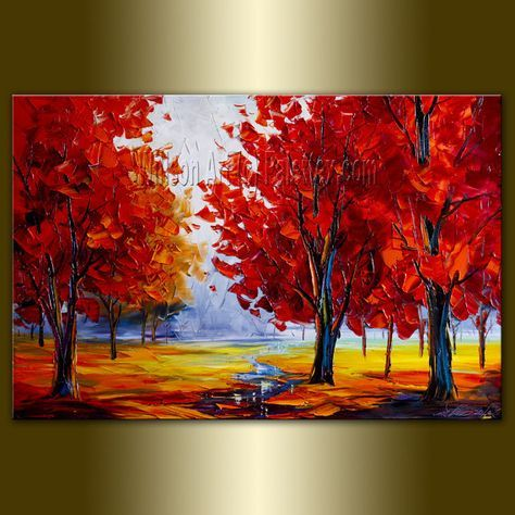 Original Landscape Painting Oil On Canvas Textured Palette Knife Contemporary Modern Tree Art Seasons 20x30 By Willson Tree Art Art Painting Tree Painting
