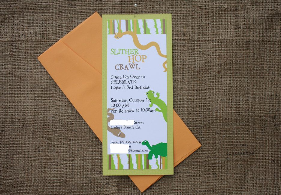 Reptile Birthday Party Invitation, Snakes and Lizards Party ...