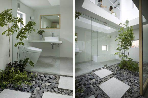 Baño y patio interior minimalistas Jardinera de porche