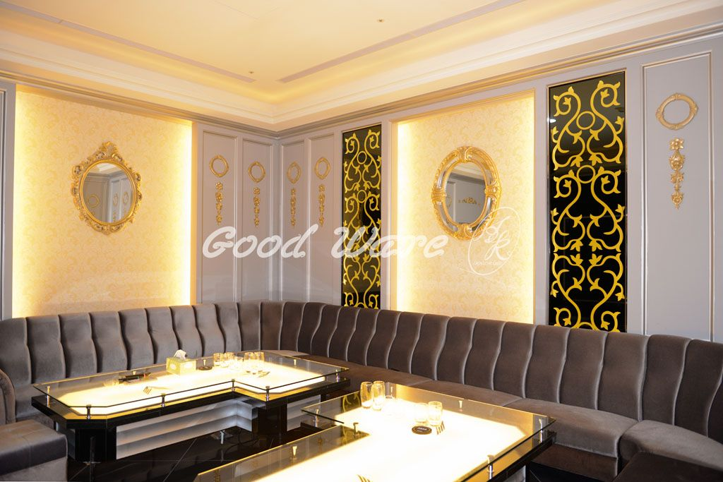 The gold mirror frame moldings make this room more luxury. Try to ...