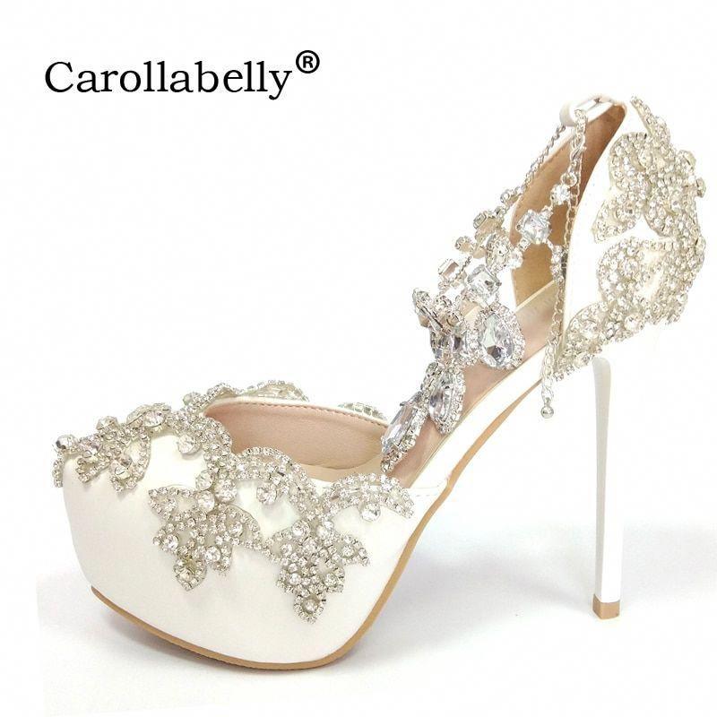 2018 Women High heels Prom Wedding Whoes Lady Crystal Platforms Silver  Glitter Rhinestone Bridal Shoes Ankle Strap Party Pumps  Platformpumps 2321ffcc5af6