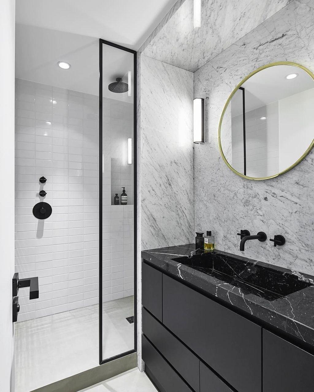 48 Stunning Black Marble Bathroom Design Ideas Bathsinterior