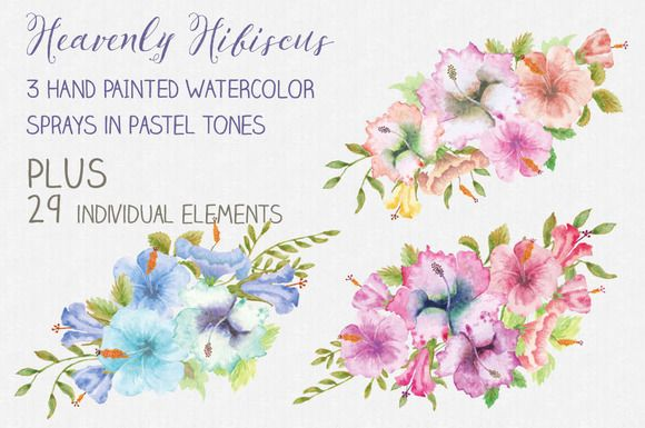 Heavenly Hibiscus: sprays + elements by Lolly's Lane Shoppe on @creativemarket