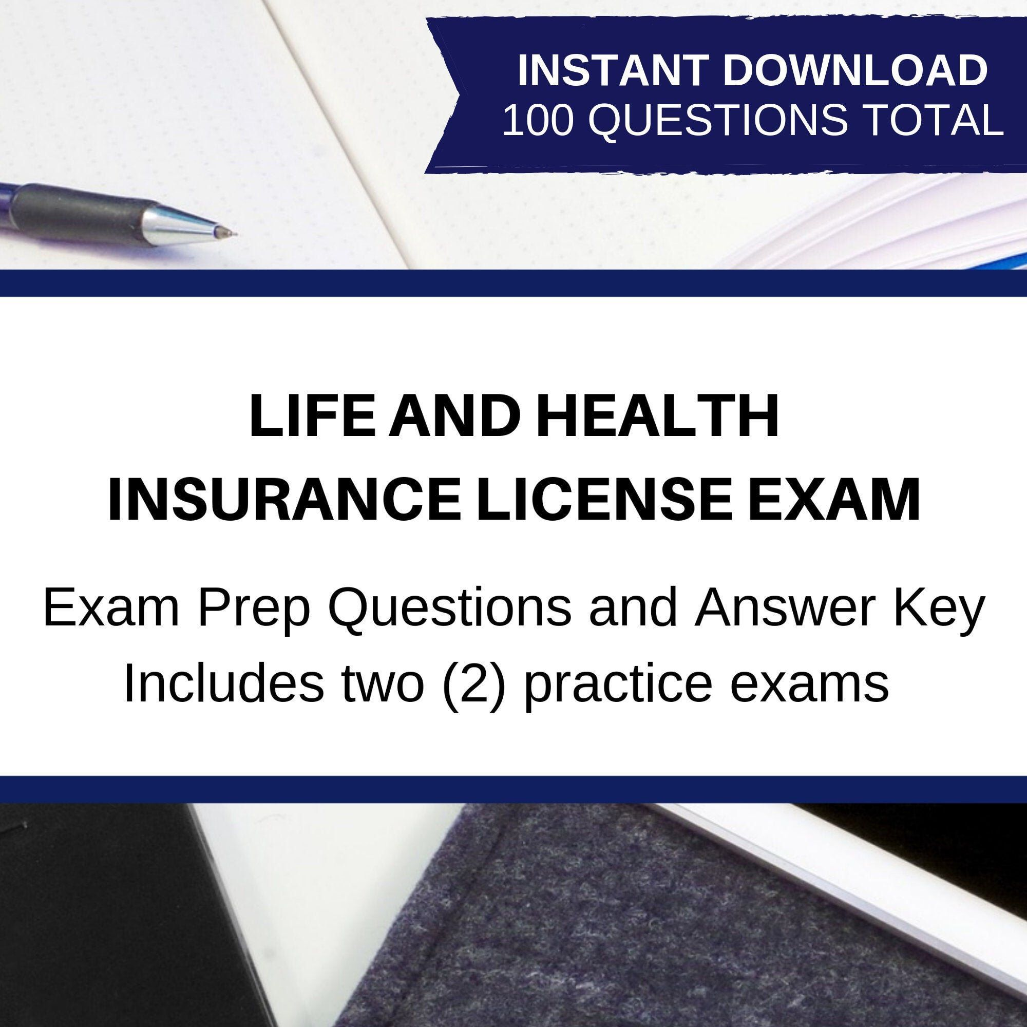 Printable Life And Health Insurance License Exam Bundle Two Practice Exams Answer Key Explanatory Answer Key Insurance Study Guide Pdf Answer Bundle Exa 2020
