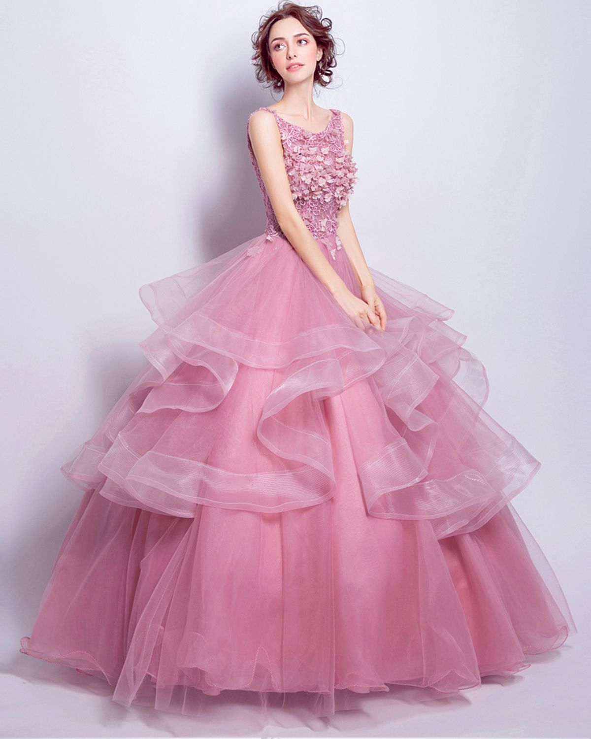 Gorgeous pink tulle V neck layer floor length halter ball gown ...
