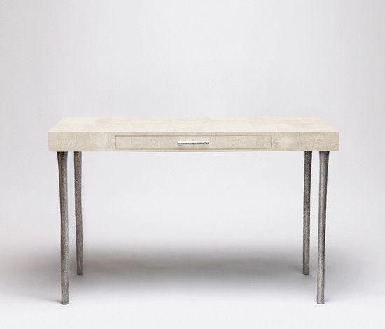 """Audrey Desk - Made Goods Dimensions: 47""""L x 20""""D x 31""""H Finish: Ivory Faux Shagreen One Drawer"""