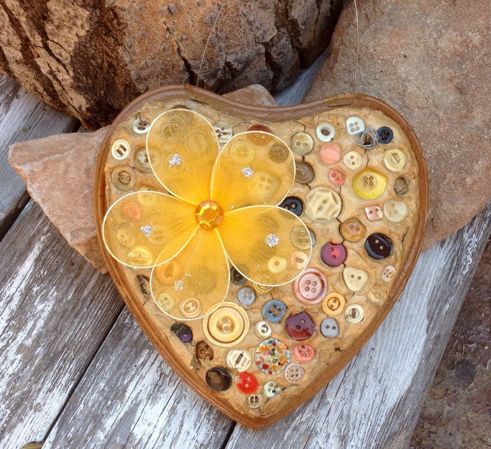 Wooden Heart Mosaic Wall Hanging Art - Button Mosaic Handmade ...