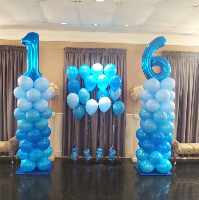 Sweet 16 blue ombre balloon columns balloon columns for 16th birthday decoration