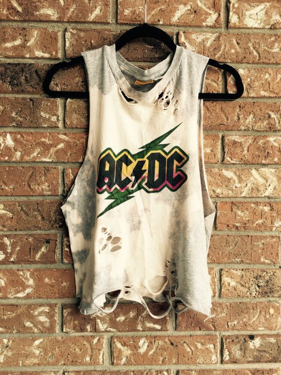 Acdc Cut And Distressed Tank Top Concert Wear Bleached T Shirt Rock N Ll Heavy Metal Size