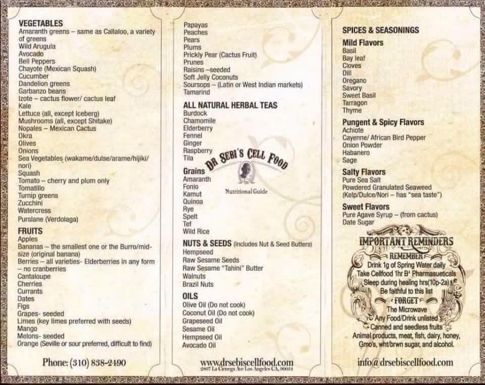 Dr sebis food list semivegetariandiets dr sebi