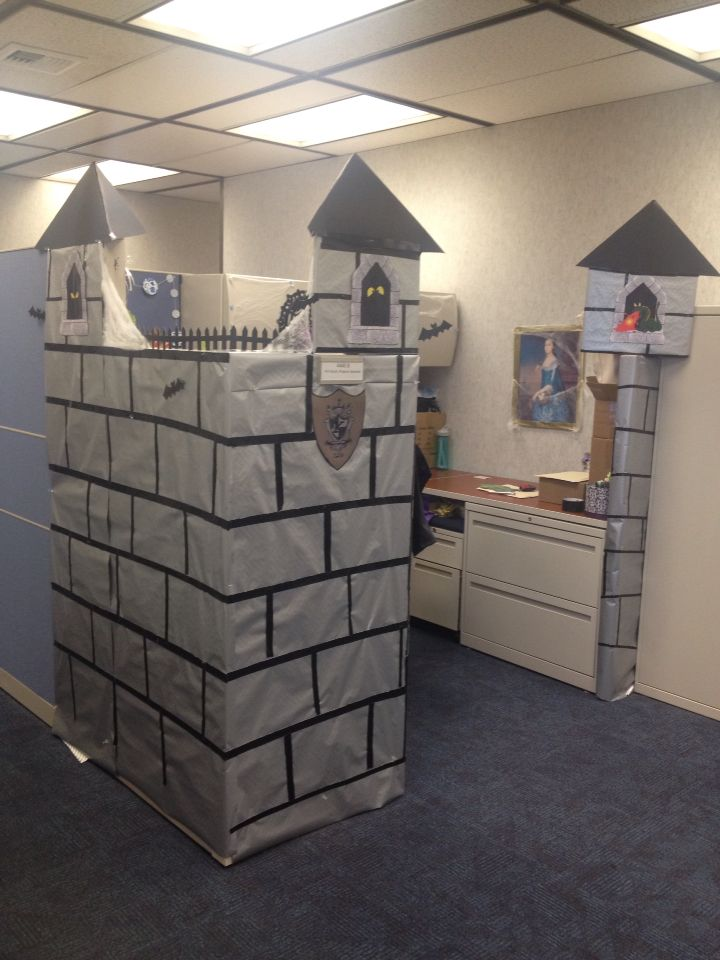 cubicle halloween decoration haunted castle made from card board presentation displays black poster board and
