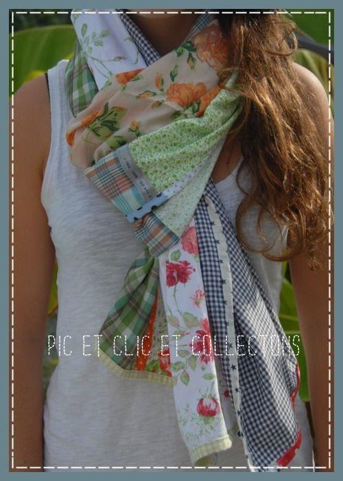 chèche en patchwork doux et multicolore   Echarpe, foulard, cravate par  pic-et-clic-et-collectons 845381e9f3e