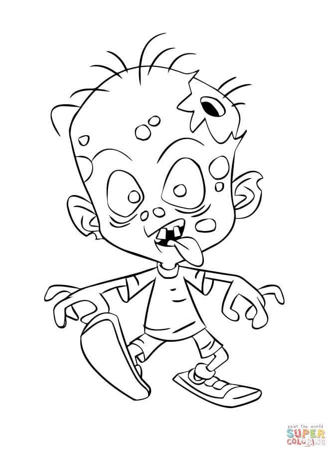 zombie coloring pages for kids | Zombie Child coloring page | Free Printable Coloring Pages ...