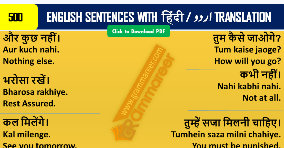 Hindi Sentences in English, English Hindi Sentences