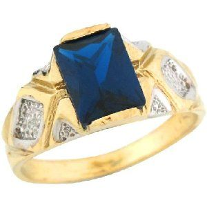 14k Two Toned Real Gold Synthetic Sapphire Sleek Band Childrens Ring Jewelry Liquidation. $260.31. Made in USA!. Made with Real 14k Gold!. Comes with FREE fancy black leatherette ring box!