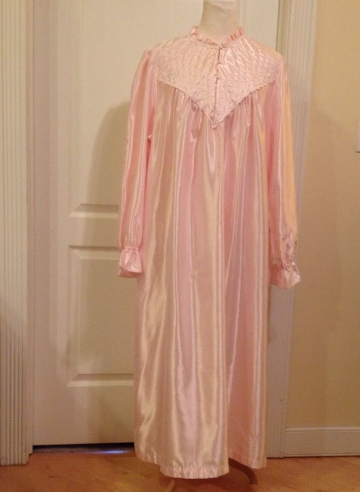5d4507ca90 Plus Size 2X Pink Satin Long Sleeve Nightgown Lace Embroidery Fundamentals  Woman
