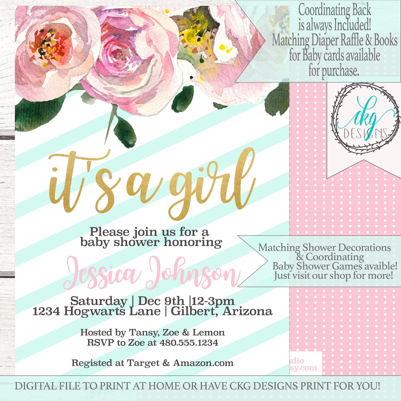Florals Baby Shower Invitation | Baby Shower Invitation Girl ...