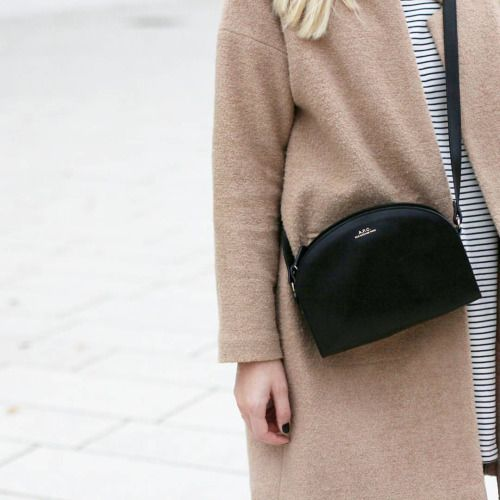 newest 9927c e2dab tifmys - Forever 21 coat, Asos striped dress   A.P.C. Half-moon bag.