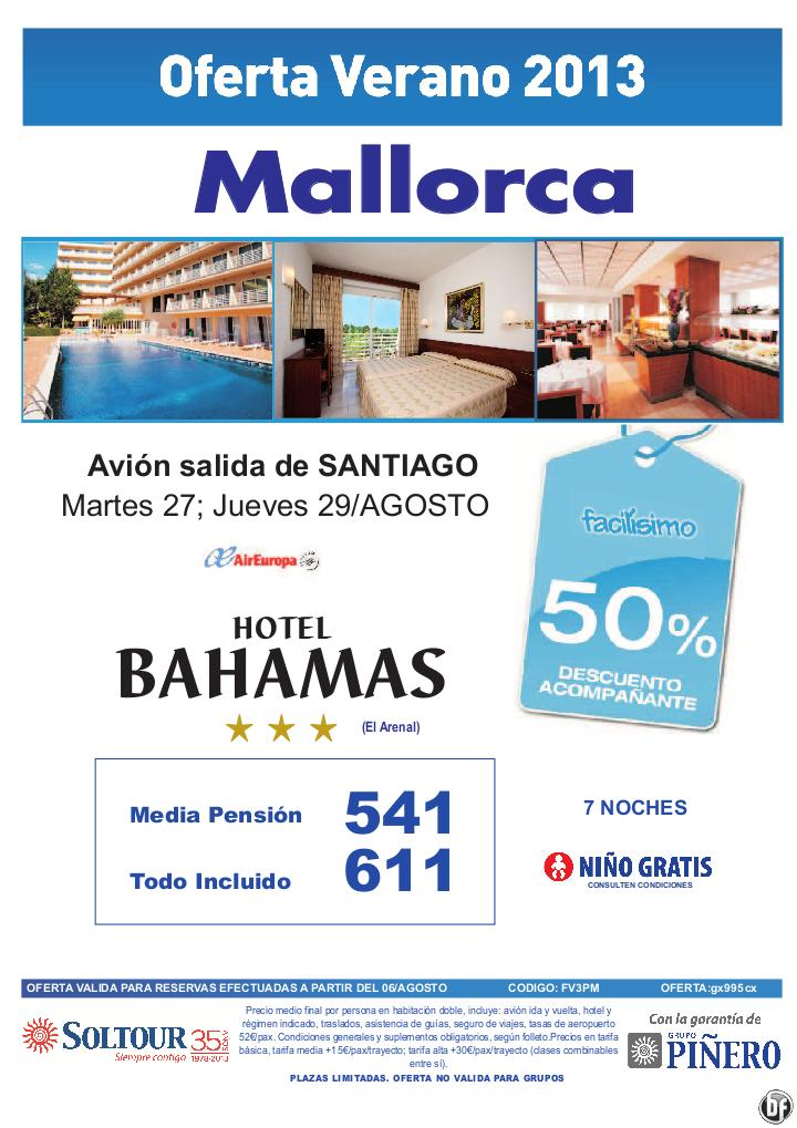 Mallorca, 50% Hotel Bahamas salidas desde Santiago de Compostela - http://zocotours.com/mallorca-50-hotel-bahamas-salidas-desde-santiago-de-compostela/