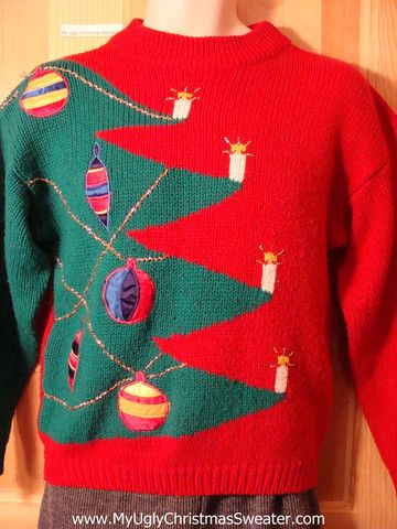 Tacky 80s Ugly Christmas Sweater With Giant Tree F585 Fun Tacky