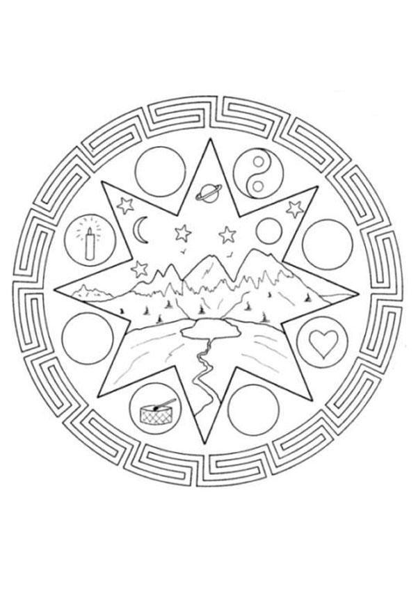 Desenho De Mandala Com Paisagem Imagens Para Colorir Desenhos