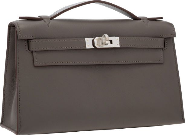 4e0905fab85a Hermes Etain Swift Leather Kelly Pochette Bag with Palladium Hardware.