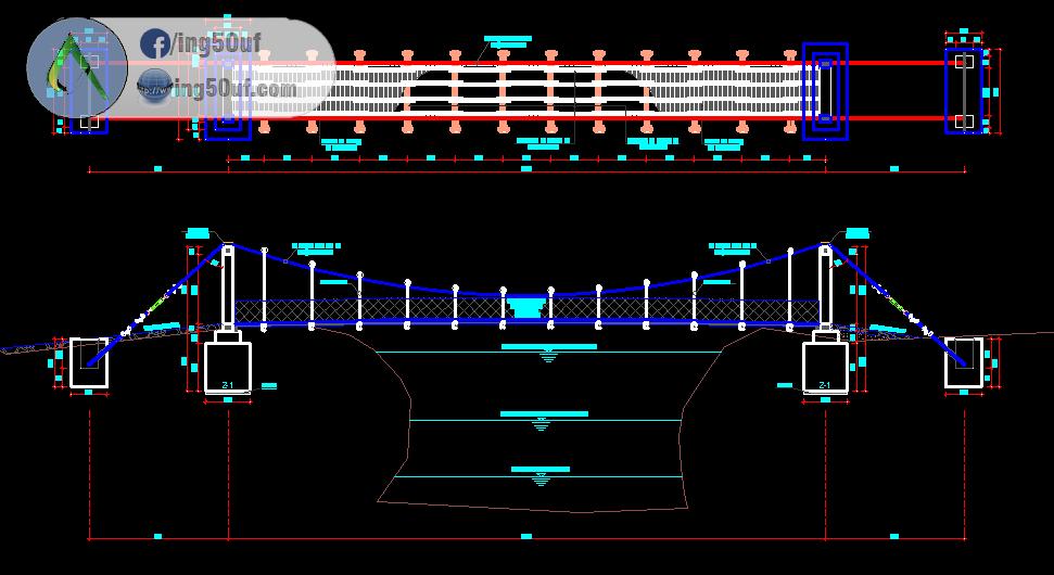 مخطط مشروع جسور معلقة للمشاة 25 40 50 62 90 متر اوتوكاد Dwg مخطط مشروع جسور معلقة للمشاة 25 40 50 62 90 متر اوتوك Autocad Autocad Drawing Music Instruments