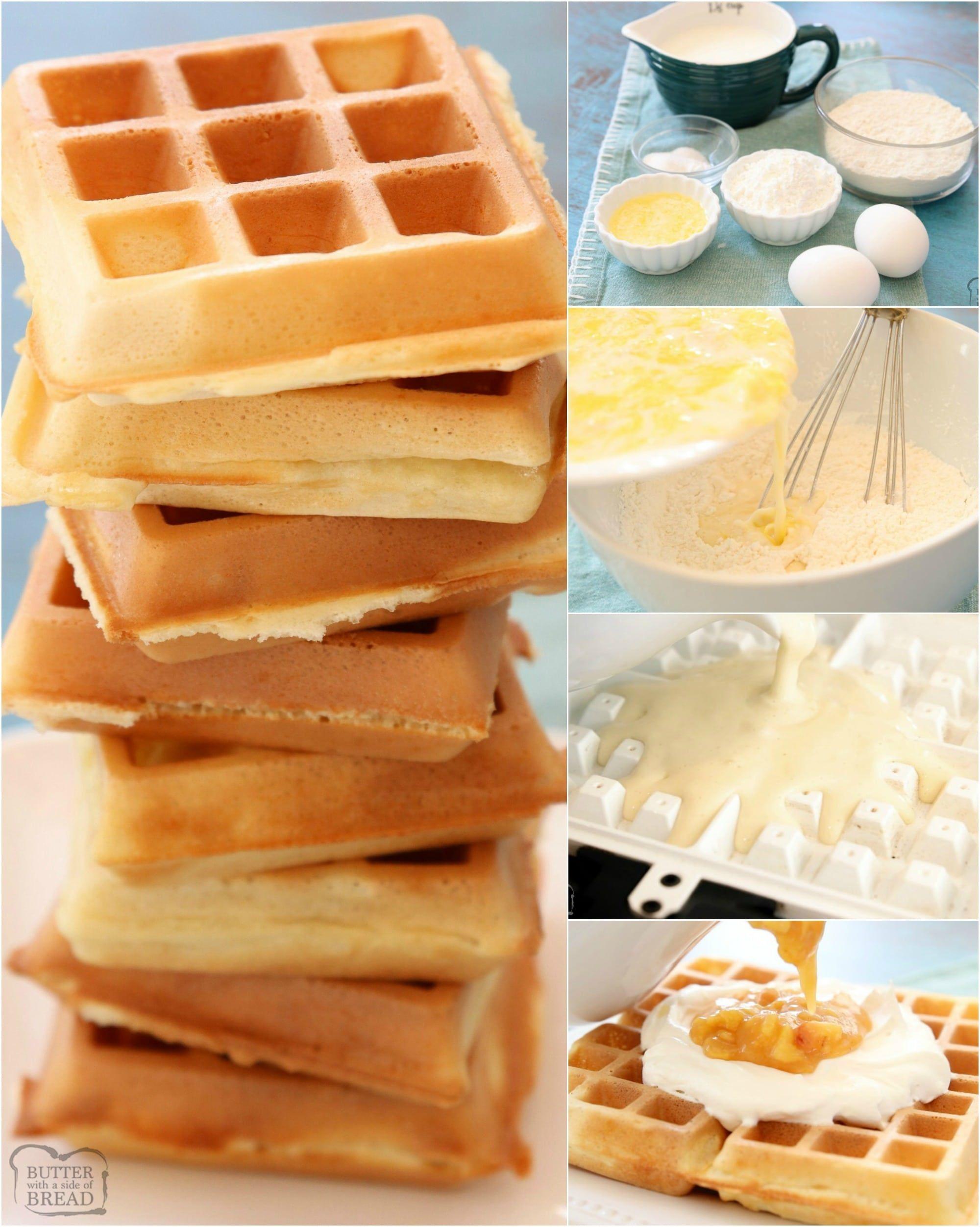 BEST BELGIAN WAFFLE RECIPE - Butter with a Side of Bread