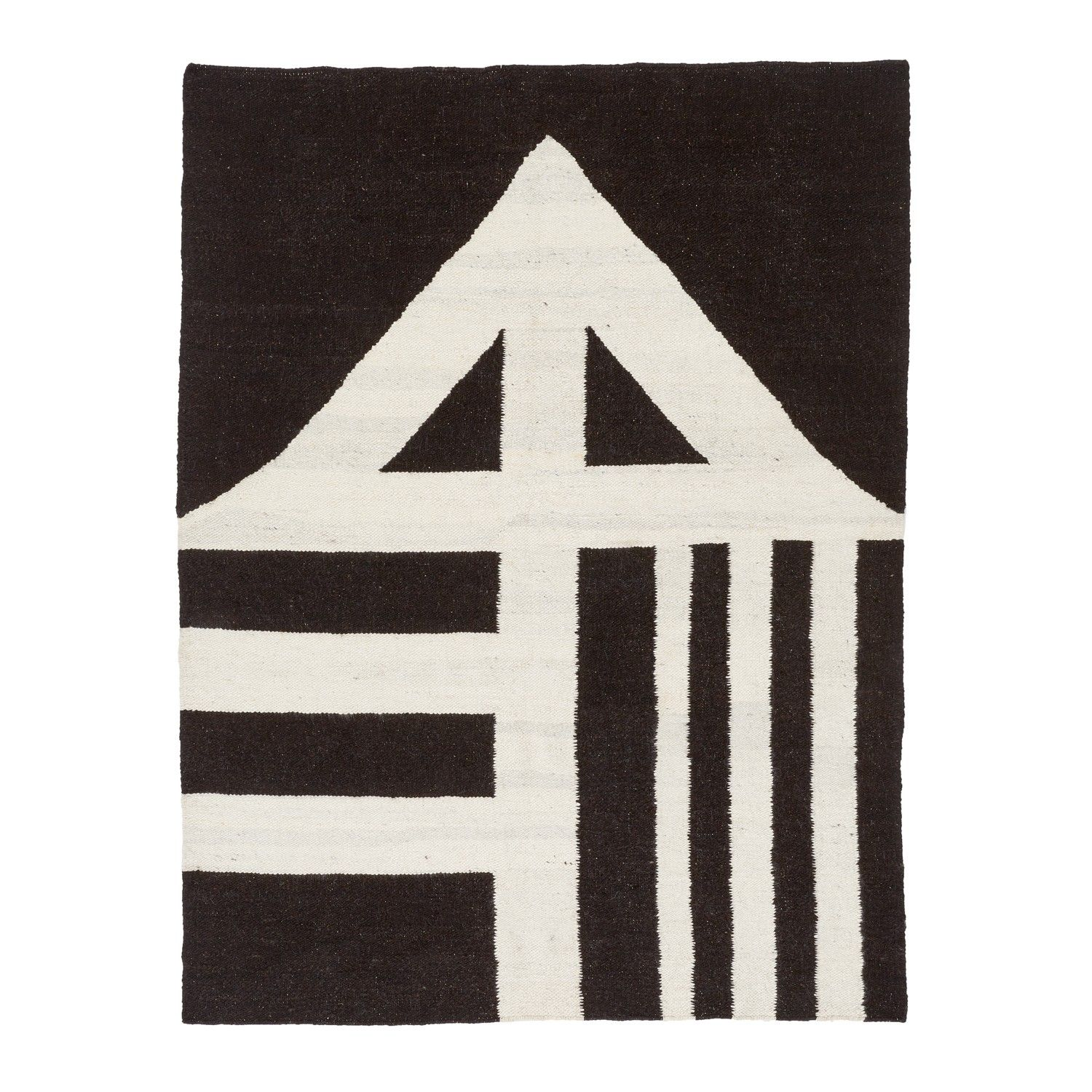 """Handwoven in South Africa, the Masana rugs feature the geometric patterns of the indigenous Ndebele tribe. From the basic symbol for """"water"""" to the decorative patterns of tribal tents, these exotic markings reflect the words, drawings, and general beliefs of the Ndebele culture and can be found nowhere else in the world. Woven from Karakul sheep's wool (known for its durable thickness), these one-of-a-kind pieces are created by women artisans of the local Ndebele and Xhosa tribes, who…"""