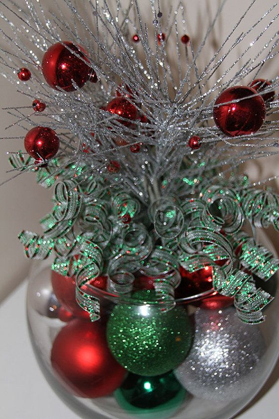 Christmas Centerpiece Red Green And Silver Holiday Decor Silver Christmas Decorations Silver Holiday Decor Christmas Centerpieces Diy