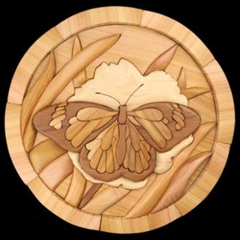 Butterfly round intarsia art by sherry young carved wood
