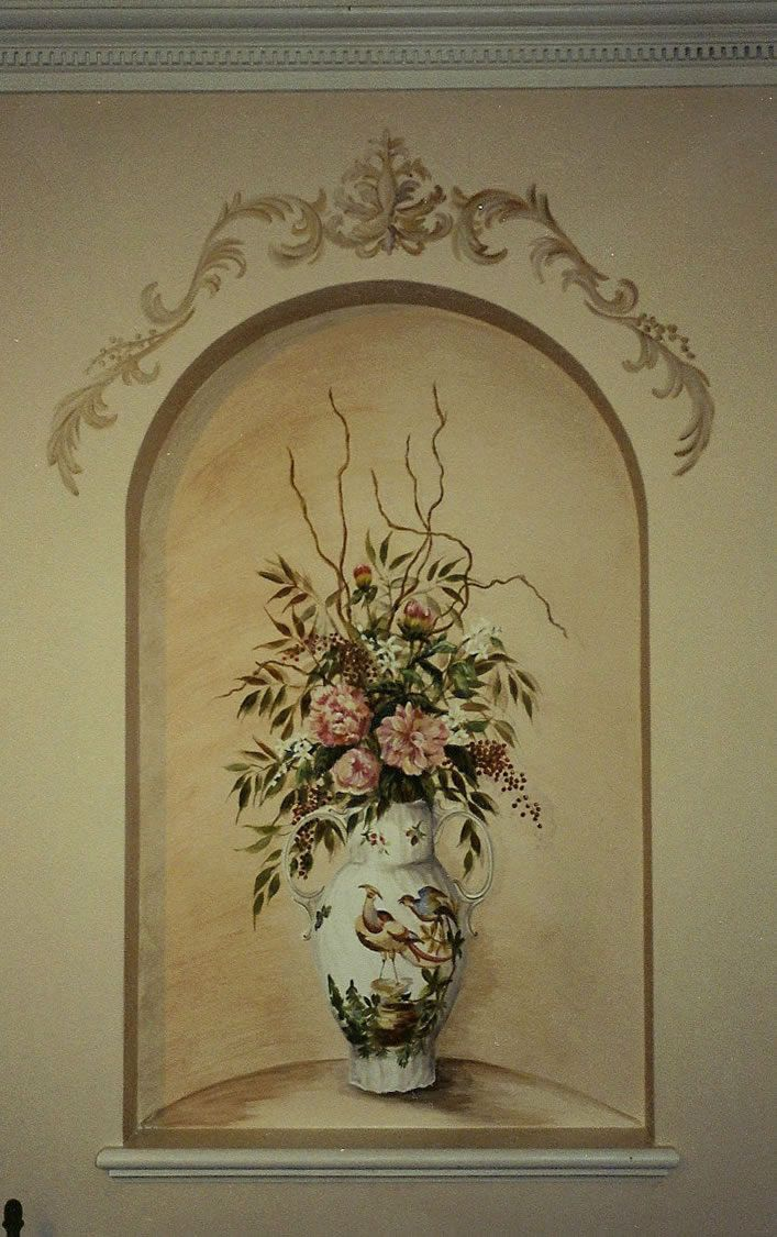 flower vase niche trompe l oeil art murals paintings. Black Bedroom Furniture Sets. Home Design Ideas