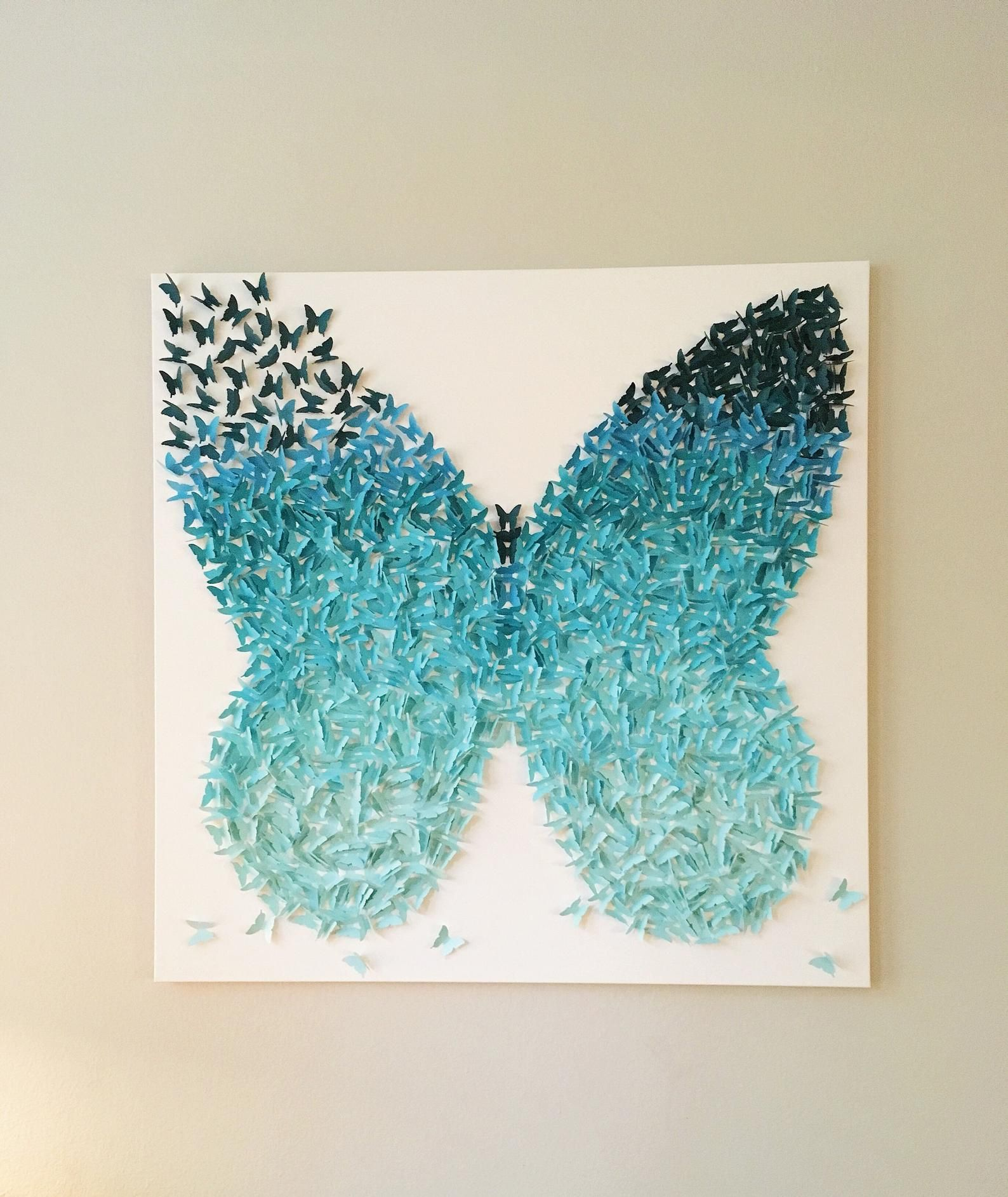 36x36 Aqua Turquoise Ombre 3d Wings Butterfly Etsy Butterfly Canvas Butterfly Art Aqua Turquoise