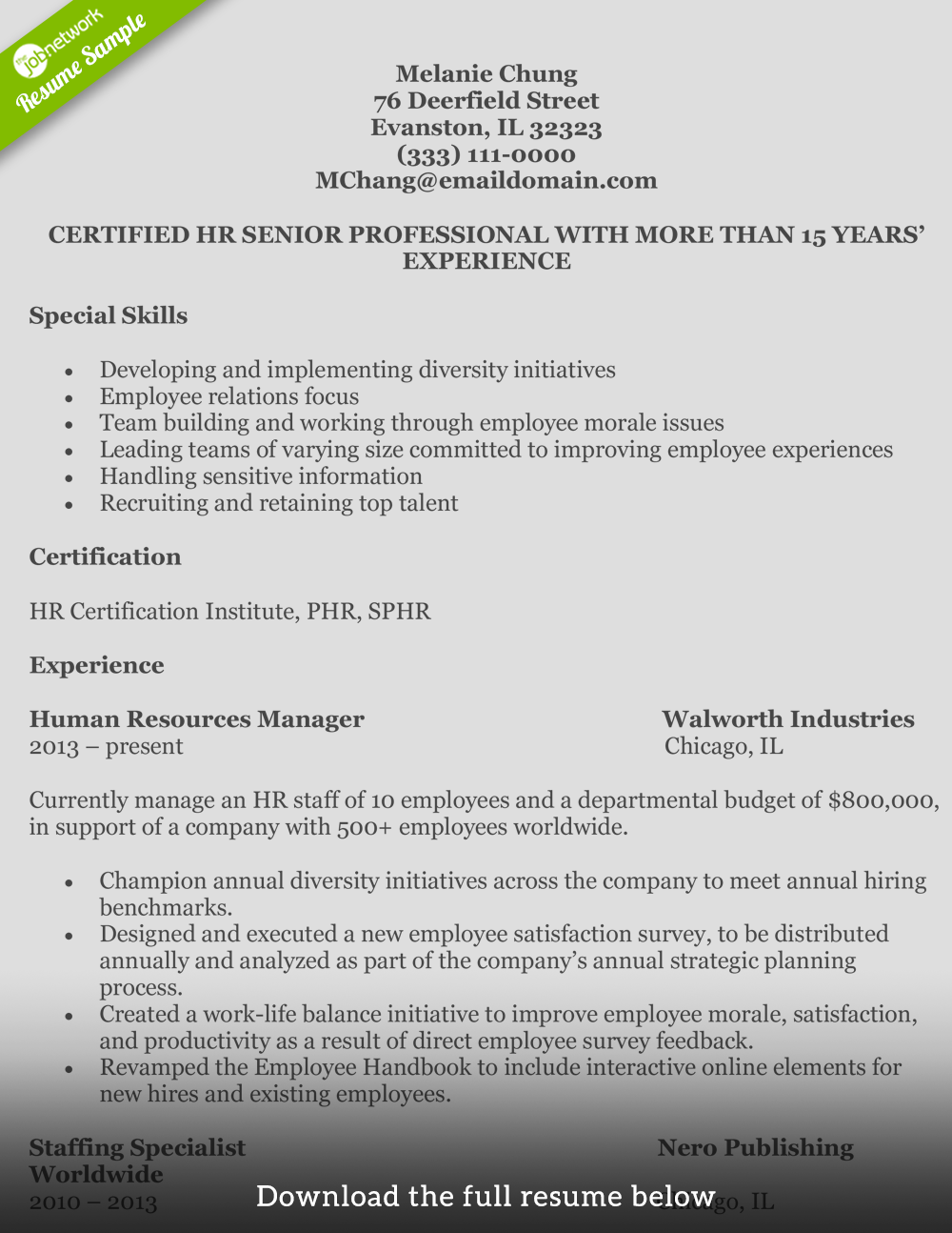 HumanResourcesResumeMelanie  Job     Resume